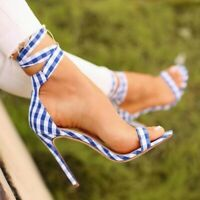 Sexy Womens High Heel Ankle Strap Peep Toe Lace Up Sandals Party Stilettos Shoes