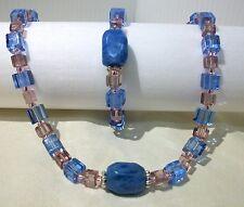 BLUE PINK NECKLACE BRACELET SET NATURAL AGATE GEMSTONE BEADS