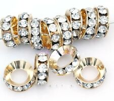 15Pcs Silver Clear Crystal Rhinestone Big Hole Copper Spacer Beads 13x5mm
