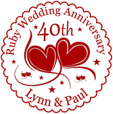 Ruby 40th  Wedding Anniversary Cake Topper - Personalised - Ruby Wedding - Icing
