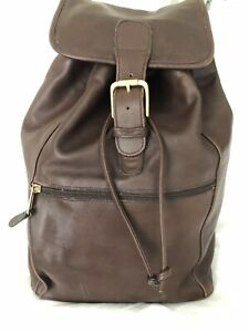Vintage COACH XL Brown Leather Classic Drawstring Buckle Backpack