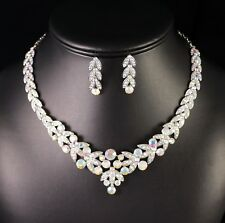 Floral AB Clear Rhinestone Crystal Necklace Earrings Set Bridal Prom Wed N20AB