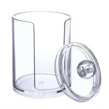 Cotton Pads Organiser Clear Transparent Round Dispenser Storage Holder Lid 7cm