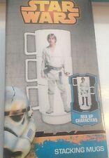 Disney Star Wars Stacking Mugs x3-Han Salo,Luke Skywalker,Stormtrooper New&Boxed