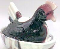 Heisey Grape Purple & White Slag Glass Small Hen on Nest Covered Dish