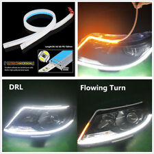 "Pair 24"" 60cm Ultrathin Ribbon Style Flowing Car LED Turn Signal DRL White+Amber"