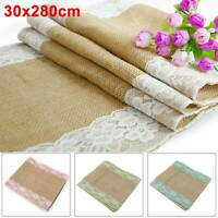 30x280cm Hessian Table Runners Lace Runner Natural Burlap Rustic Wedding Jute UK