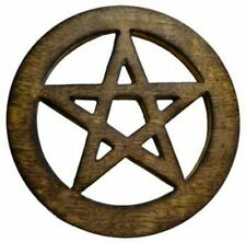 """4"""" Wood Pentagram Altar Tile: Wooden Carved and Stained (Wicca Pagan Pentacle)"""