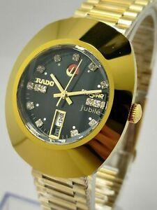Vintage Rado Diastar Automatic 36 MM Black Dial White Stone Men's Wrist Watch