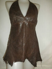 NWOT SHERRY NIKKA COUTURE HALTER TOP CHOCOLATE BROWN LEATHER w/ APPLIQUE sz S