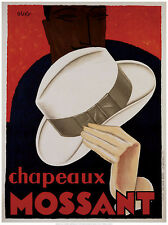 VINTAGE HAT ART PRINT - Chapeaux Mossant by Olsky 24x32 Retro Top Hat Poster