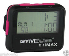 GYMBOSS miniMAX INTERVAL TIMER & STOPWATCH BLACK PINK SOFTCOAT SHPD FR CANADA