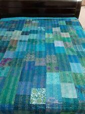 Indian kantha quilt handmade work cotton blanket gudri bedspread bohemian throw