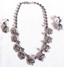STERLING MADE IN SIAM TEMPLE DANCERS NECKLACE & SCREW BACK MATCHING EARRINGS