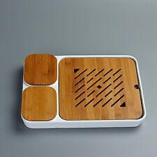 Bianco ceramica teatable Tè vassoio d'Bambù tavolo & contenitore 32x23cm