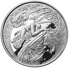 Alphonse Mucha 5 0z .999 silver coin proof DANCE Art series collection limited
