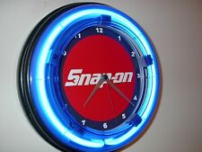 Snap On Tools Mechanic Garage Man Cave Blue Neon Advertising Wall Clock Sign