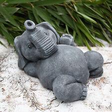Steinfigur Elefant liegend Schiefergrau, Garten-deko Deko-figur Statue Geschenk