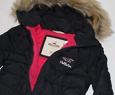 HOLLISTER by Abercrombie Womens Hooded Faux Fur Puffer jacket Coat Navy XS $160