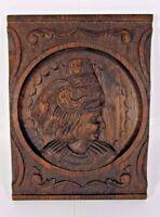 Breton Oak Wood Panel Wall Pediment Hand Carved French Portrait Salvage Antique