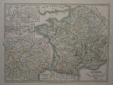 1846 SPRUNER ANTIQUE HISTORICAL MAP ~ FRANCE 1180-1461 BATTLES BOUVINES CRECY