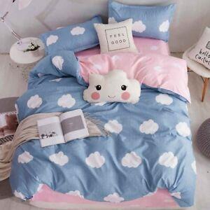 White Cloud Blue Bedding Set Queen King Bed Linen Soft Duvet Cover Flat Sheet