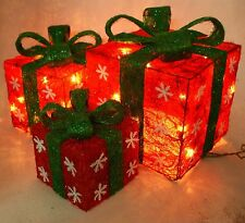 Set of 3 Lighted Holiday Gift Boxes Snowflakes Yard Decoration Christmas
