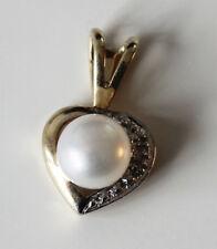 Perle et Diamant Cœur Pendentif Or 9 ct