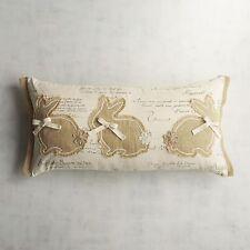 Pier 1 Imports Pillow Lumbar 3 Natural Bunnies Burlap Rabbits 24 x 12 New