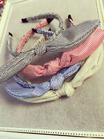Women Lady Girl Striped or Check Bow knot wire School hair band hoop headband