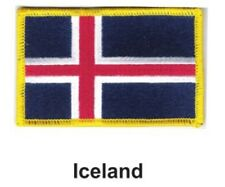 """ICELAND FLAG EMBROIDERED PATCH - IRON-ON - NEW 2.5 x 3.5"""" FREE SHIPPING"""