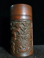 Exquisite carved old man under pine trees bamboo Tea Caddies tea canister caddy