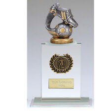FOOTBALL TROPHY  SIZE 21 CM  FREE ENGRAVING G002A GLASS