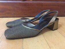 Vintage YVES SAINT LAURENT Gold Mesh Slingback Sandals Shoes  5.5 M