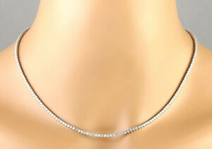 6.00 Carat Natural Diamond 14K White Gold Luxury Necklace