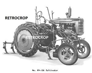 Farmall AV AV-136 & 138 Hand Lift Cultivator Owner's & Parts Manual IH High Crop