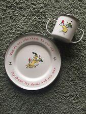 Dr Seuss Enamelware Tin Cup Double Handle & Plate 1960 2000 Dr Seuss Enterprises