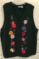 Ugly Christmas Vest Womens Plus 1X Green V-Neck Ornaments Embellished Holiday