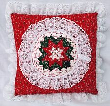 """Christmas Calico & Lace Amish Folded Star Throw Pillow 12"""" Square Candy Cane"""