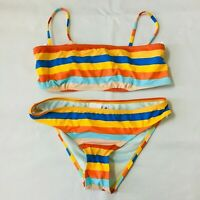 The Bikini Lab Womens Bikini Swimwear Set Tie Bra Striped Strappy New Medium M