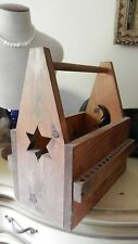 Vintage Primitive Wood Wooden Artists Carpenters Tool Tote Box Sun & Moon Carry