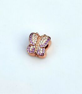 Rose Gold Pave Butterfly Charm BEAD SILVER EUROPEAN by Pandora's Love