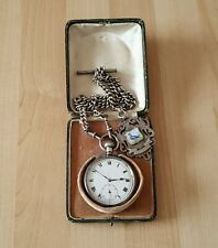 Vintage Solid Silver Rolex Pocket Watch + Solid Silver Double Albert Chain & Fob