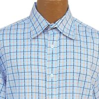 FACONNABLE Blue Plaid Button Dress Shirt Mens 6 17L 36