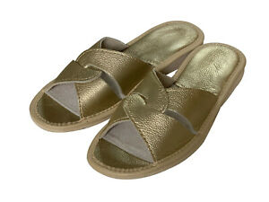 Gold Ladies Slippers shiny open toes Shoes for Women natural leather sizes 3-9