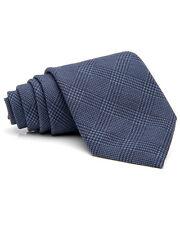 Ermenegildo Zegna Blue Plaid Silk/Cotton Tie Made in Italy Italian Dark Classic