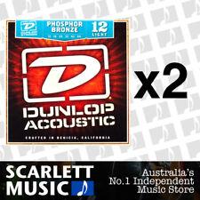 2x Jim Dunlop Acoustic Guitar String Set Light 12-54 Phosphor Bronze Strings