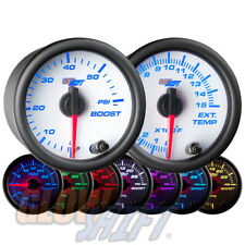 GlowShift 52mm White 7 Color 60PSI Boost + 1500F EGT Pyrometer Diesel Gauge Set
