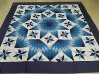 Machine pieced Shade Of Blue patchwork Queen size quilt top #J-116