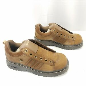 Skechers 45952 Chunky 6 Eye Womens 8M Brown Leather Studs Lace Up Comfort Shoes